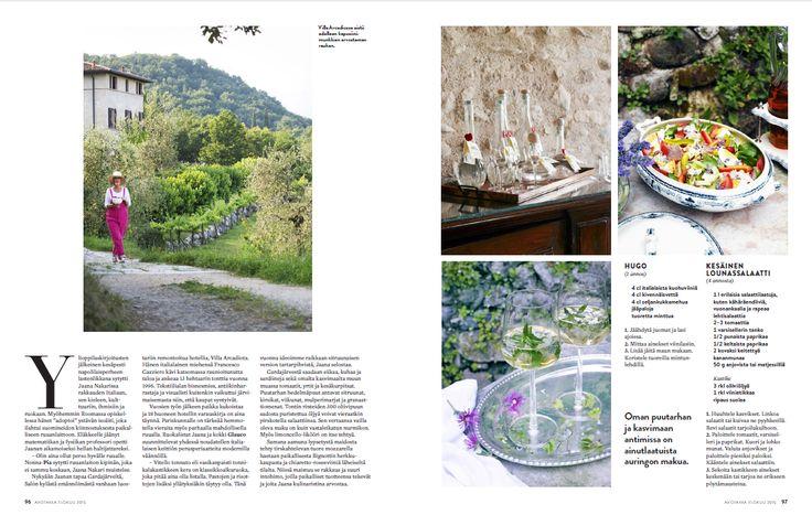 (2) Avotakka 8/2015   Luksusta luostarissa   Villa Arcadio   toimittaja Helena Saine-Laitinen ja kuvaaja Sanna Peurakoski #villaarcadio #resepti #lounas #kesä #salaatti #hugo #drink