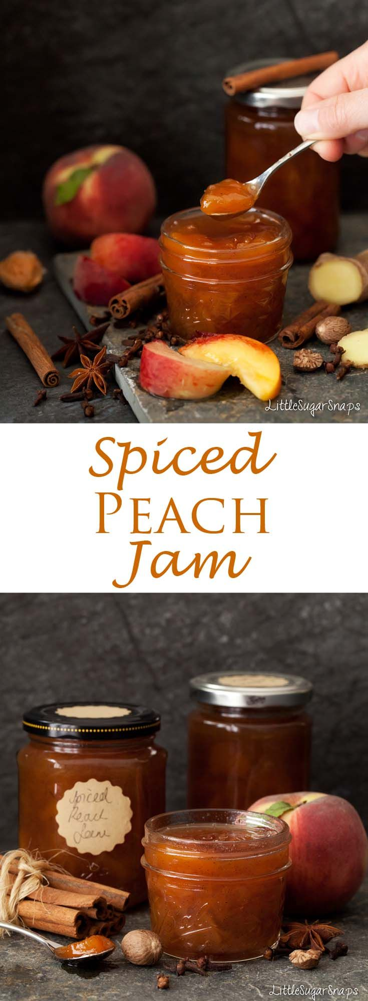 Spiced Peach Jam, Use these spices, but regular jam recipe w/pectin