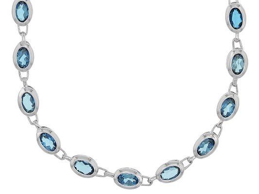 19.00ctw Oval London Blue Topaz Sterling Silver Necklace
