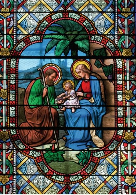 Stained Glass Window Clip Art | ... Puzzles > Christmas > Sauxillanges, Holy Family Stained Glass Window