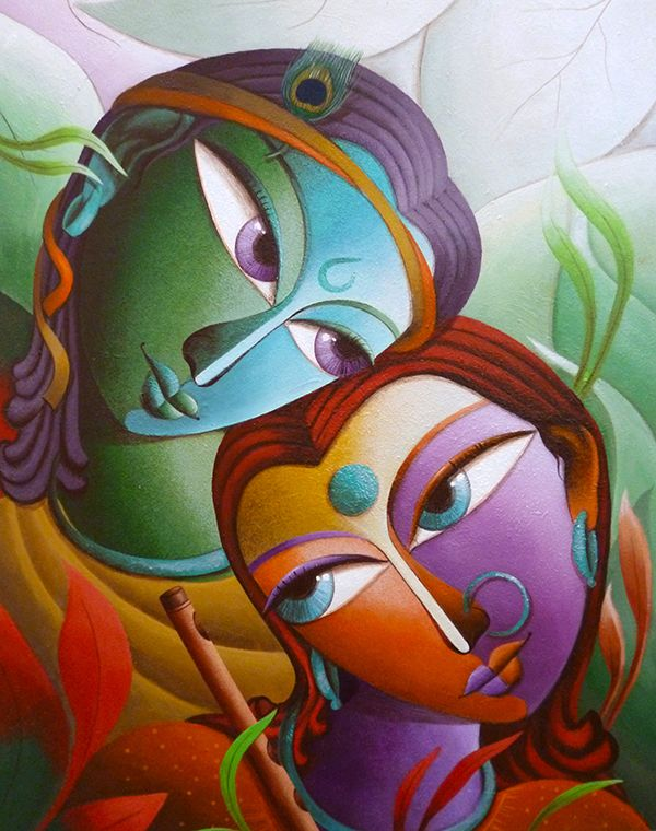 Krishna@16-Lord Krishna Painting Series by Dhananjay Mukherjee