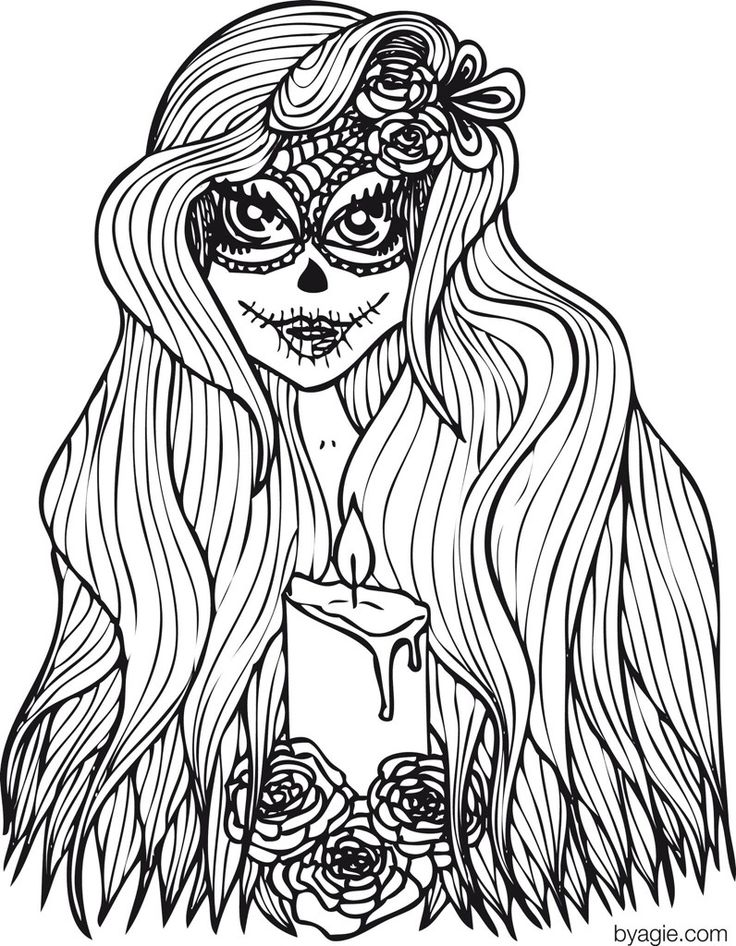 222 best sugar skulls + day of the dead coloring pages for adults ... - Coloring Pages Roses Skulls