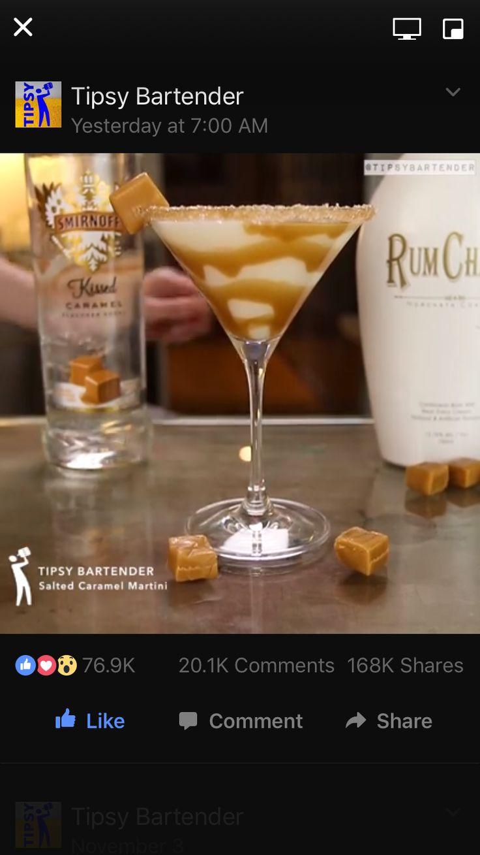 Salted Caramel Martini 1 part Caramel vodka 2 parts Rumchata. Use a salted caramel rim!