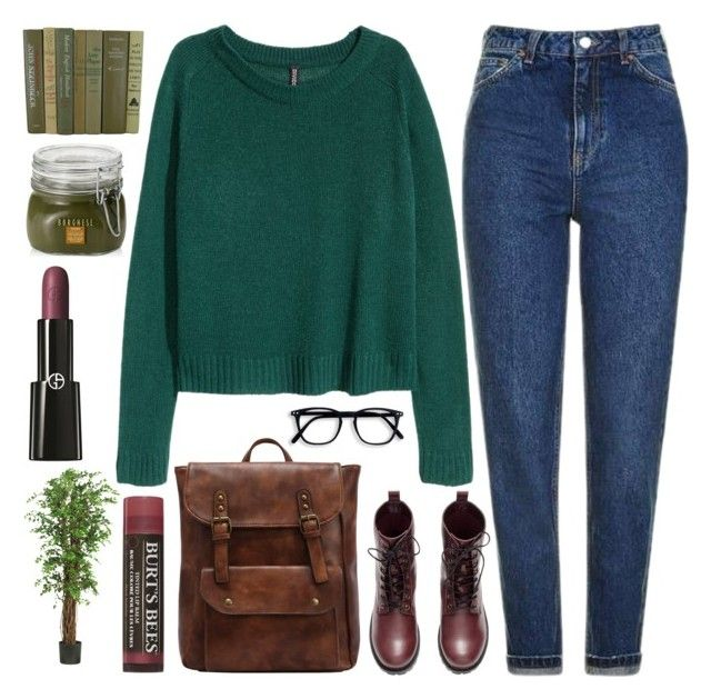 """""""next semester"""" by sweet-jolly-looks ❤ liked on Polyvore featuring Topshop, H&M, Burt's Bees, Borghese, Nearly Natural, Giorgio Armani, casual, earthtones and winter2017"""