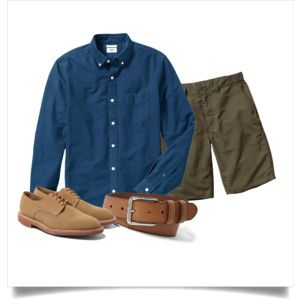Polyvore: Navy OCBD, olive shorts, tan leather belt, tan suede derbies.