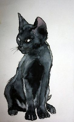 Watercolor cat. I love how this artist just use one color and made all features perfectly and exactly