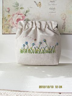 Ricamo a mano telaio borsa pouch bag di KawaiiSakuraHandmade