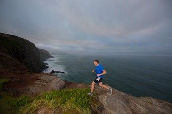 Glenn Sutton training run on the Karetai Track, Dunedin, New Zealand.