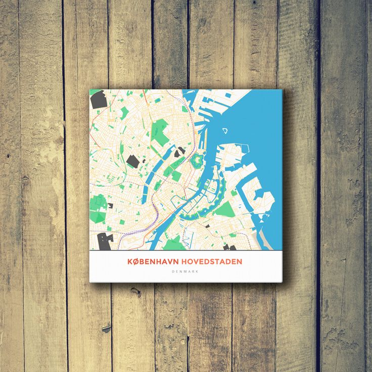 Louisiana Denmark Map%0A Gallery Wrapped Map Canvas of Copenhagen Denmark  Simple Colorful   Copenhagen Map Art