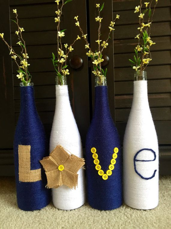 Yarn wrapped bottles wrapped wine bottles burlap by HomeEcQueen