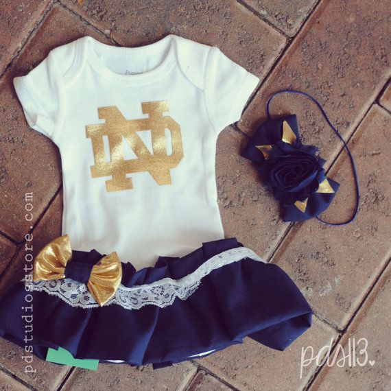 Love love love this for Baby Girl! Baby Girl Notre Dame, Football University Theme Onesie, Dress with Lace Ruffles, Bow and Headband on Etsy, $25.00