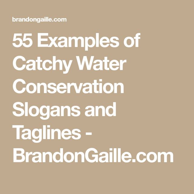 55 Examples of Catchy Water Conservation Slogans and Taglines - BrandonGaille.com