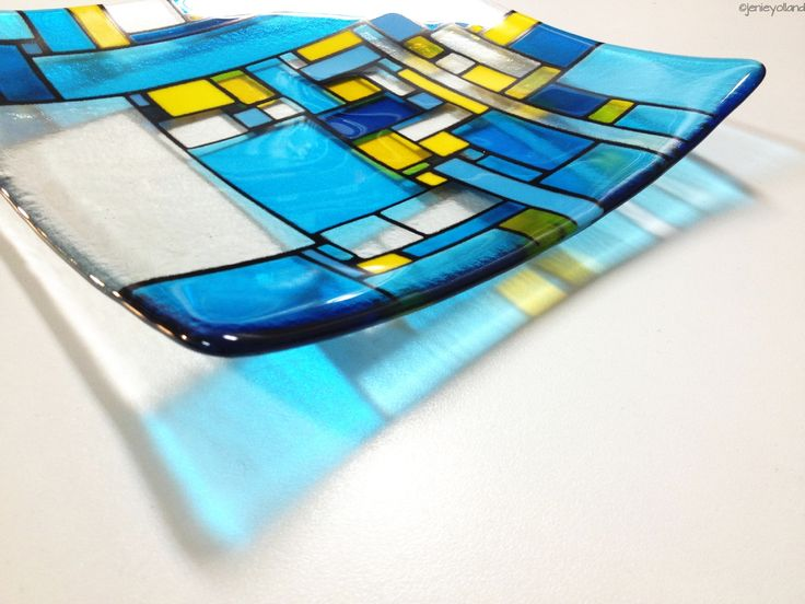 """Turquoise and sunflower yellow art glass platter 30cms x 30cms or 12"""" x 12"""" - its glorious isn't it!"""