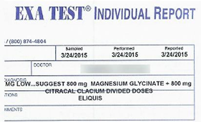 """AM I MAGNESIUM DEFICIENT? MY EXA TEST RESULTS ARE IN! by Travis Van Slooten, editor of livingwithatrialfibrillation.com. """"Most doctors will recommend a simple [blood] serum magnesium test. The blood serum test is the most common magnesium test available. Unfortunately, the results from this test are virtually meaningless."""" Travis explains why he spent the money to get his intra-cellular level of Magnesium tested with an EXA TEST.."""