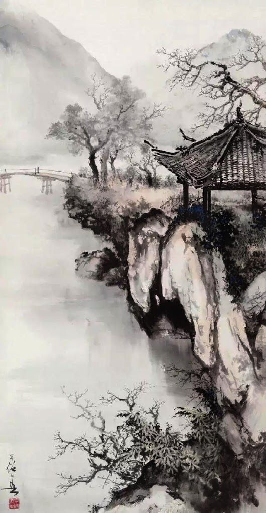 A pavilion by a bridge – ink painting by a Chinese…