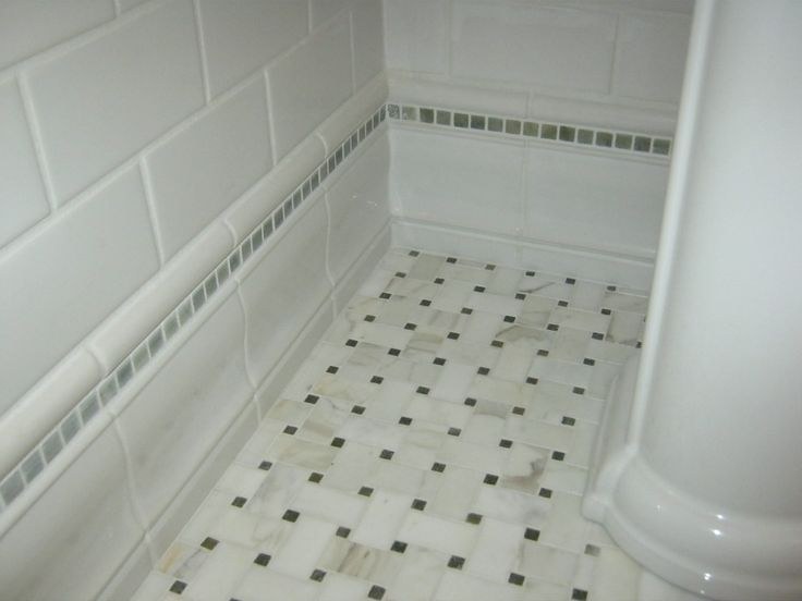 Marble Mosaic Floor Ceramic Baseboard Stone Stripe And Ceramic Subway Tile Powder Room