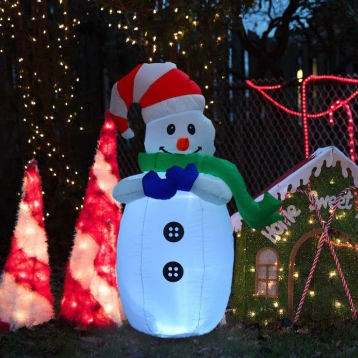 Inflatable Outdoor Christmas Decoration Winter Xmass Snowman Garden LED Outdoor #InflatableOutdoorChristmasDecoration