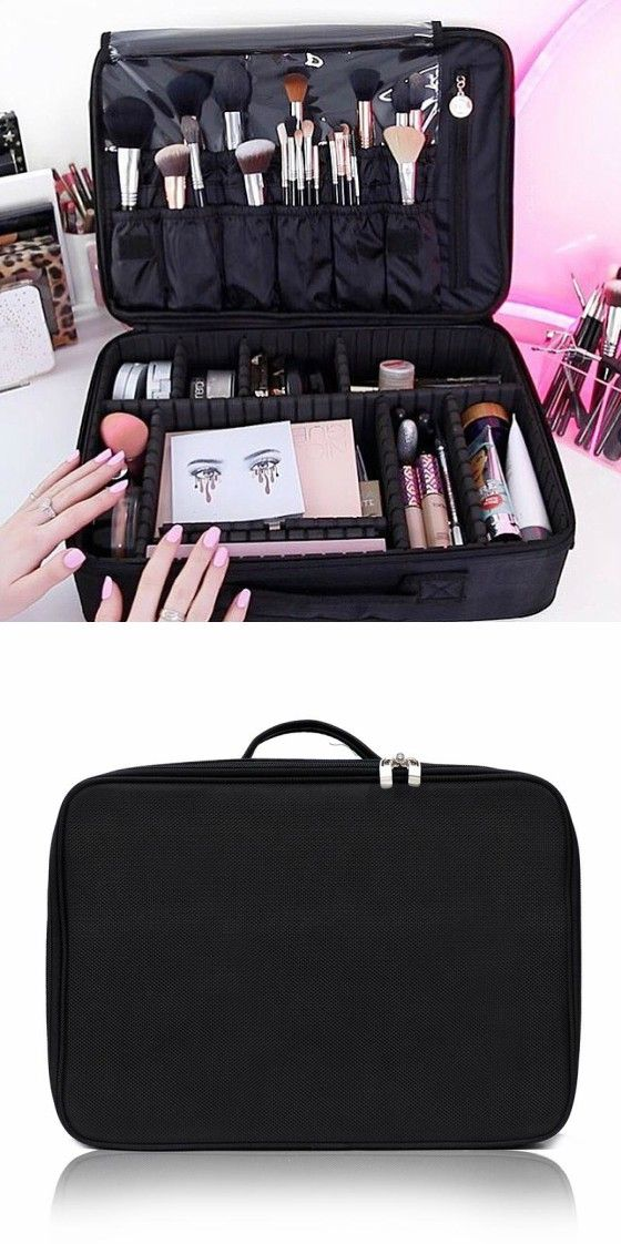 cafa242d941 Portable Mini Travel Oxford Soft Makeup Bag with Removable Tray Dividers in  Black --Joligarce makeup bag with brush compartment   cosmetic bag with  brush ...
