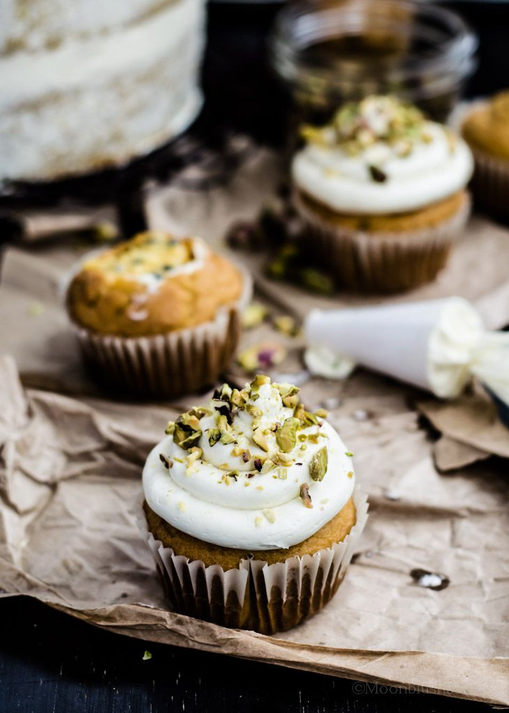 COCONUT PISTACHIO SEMOLINA CUPCAKE with LEMON SYRUP & PINEAPPLE CURD [themoonblushbaker]
