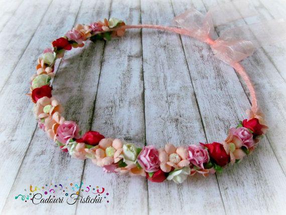 Handmade  Bridal  Floral  Peach  Wreath by CadouriFistichii