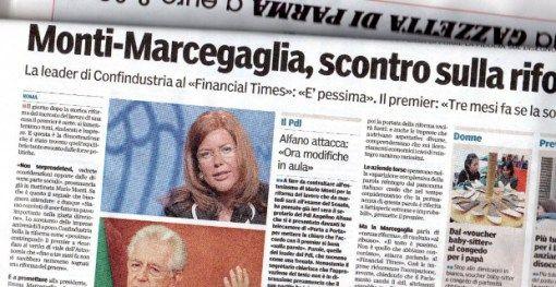 La Marcegaglia è… Sabina Guzzanti. Nell'articolo della Gazzetta di Parma, di proprietà dell'Unione Industriali si parla dello scontro sulla riforma del Lavoro, ma al posto della foto di Emma Marcegaglia, ex presidente di Confindustria, è finita la foto di Sabina Guzzanti in una delle sue imitazioni… (6 aprile 2012)
