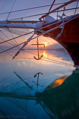 Sailboat at sunrise in Fethiye, Turkey.