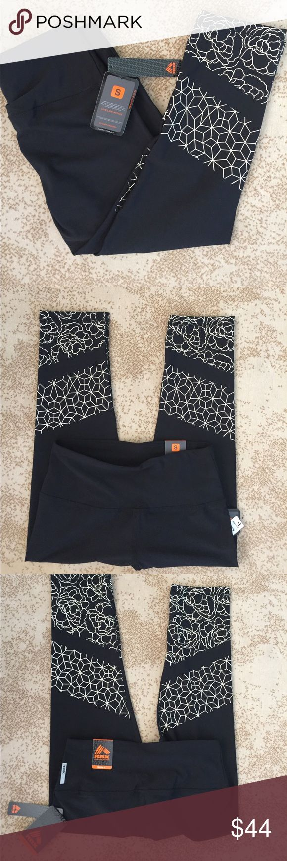 NWT RBX size Small workout/yoga pants NWT size Small workout/yoga pants- Can be worn for any type of exercise. All black with cream flower design on the lower part. Capri length, stretch, fade resistant. Retail for $58. Ramona from the Housewives of NYC wore them this season during her personal trainer  scene. RBX Pants