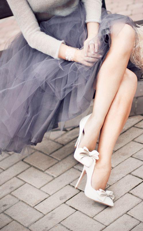 Grey Tulle Skirt + bows on cream high heel pumps - stunning girly street style…