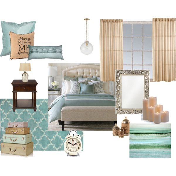 Bedroom in duck egg blue with gold accents and dark timber.