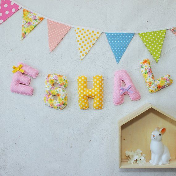 Fabric Name Letters Baby Sign Wall Hanging
