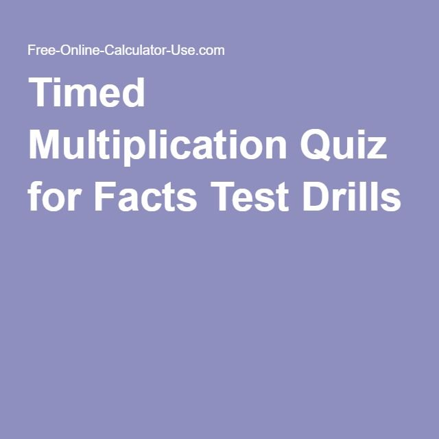 Timed Multiplication Quiz for Facts Test Drills