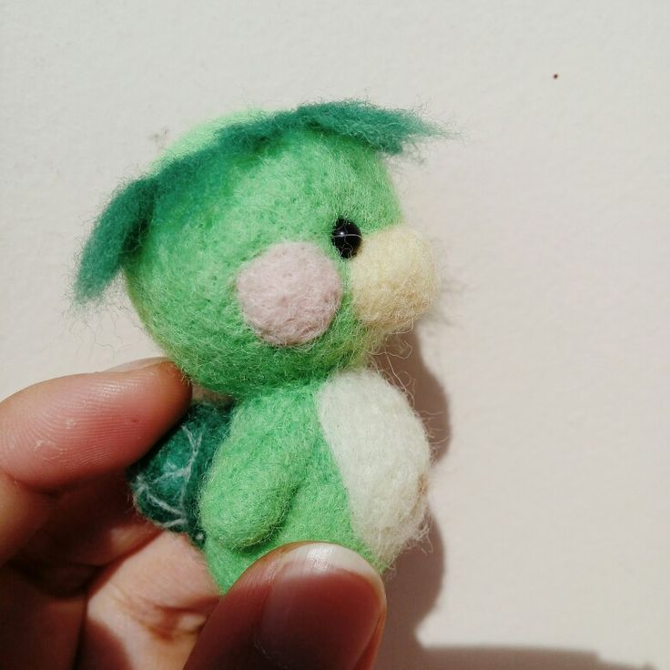 Needle Felted Kappa, Japanese mythical creature. I really love its belly >.<