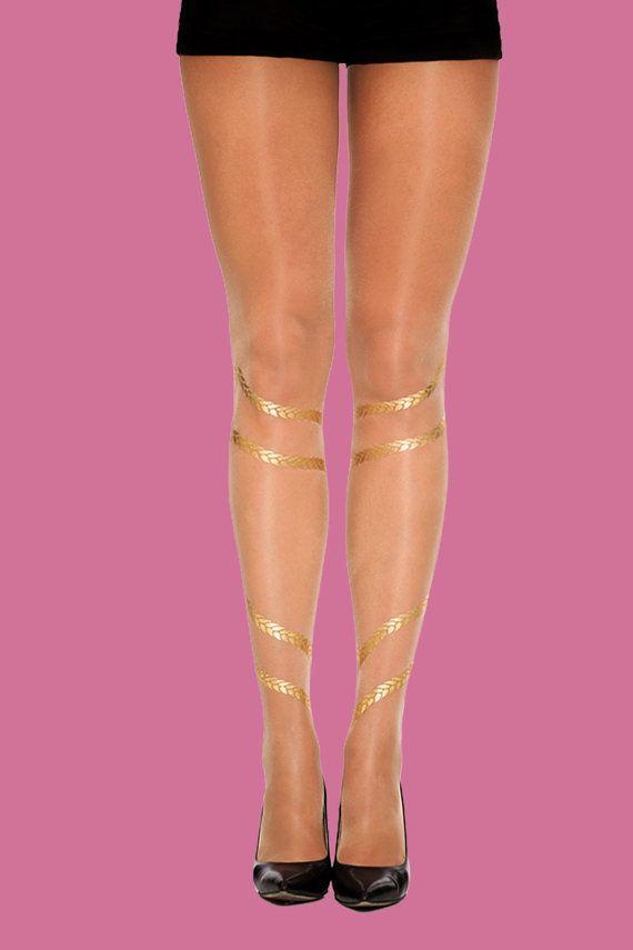 Trecce, oro stampato collant velato, disponibile in s-m, L-XL