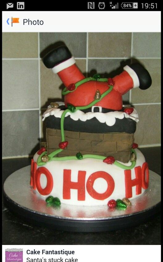 Santa stuck in chimney christmas cake Santa stuck in chimney cake