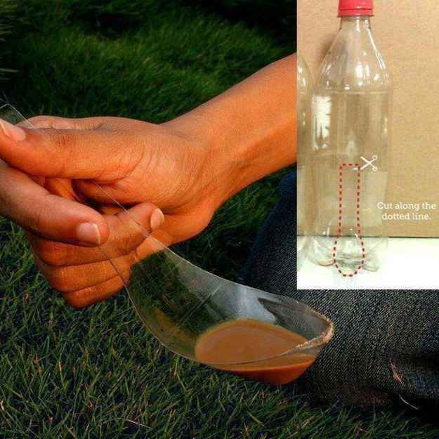 Make a last-minute camping spoon with a knife and a plastic bottle.   41 Genius Camping Hacks You'll Wish You Thought Of Sooner