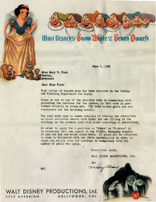 Females not suitable for animation - In 1938, females who applied for animation jobs within Disney received the following, deceivingly attractive letter and were advised to instead shoot for a lower star in the tracing department.
