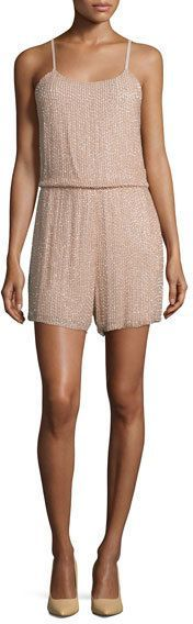 Alice + Olivia Mika Sleeveless Beaded Silk Romper, Tan