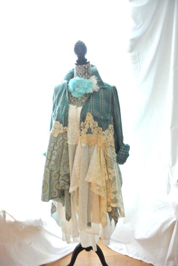 Mori Girl Dress Bohemian Duster Romantic coat by TrueRebelClothing, $110.00