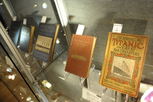 Books on the Titanic's sinking are seen on display at Bonham's auction house in New York April 10, 2012.