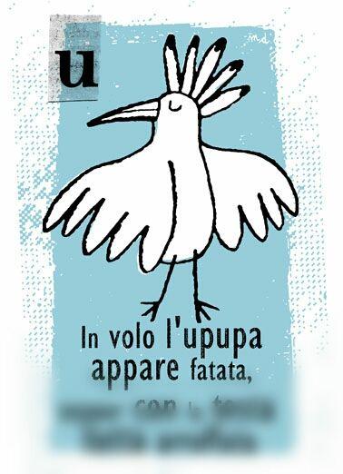 upupa - animali da ABBECEDARIO ZOOLOGICO #animal #illustration