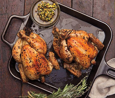 Roast Chickens with Pistachio Salsa, Peppers, and Corn: Corn Recipes, Food Recipes, Pistachios Recipes, Peppers, Chicken Recipes, Roast Chicken, Pistachios Salsa, Roasted Chicken, Roasts