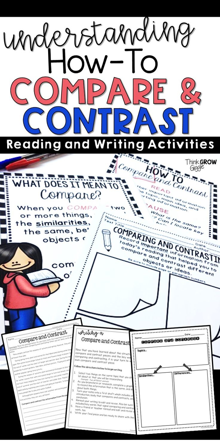 Help your students understand the compare and contrast text structure with these anchor charts, nonfiction reading activities, graphic organizers, and writing tasks. Click to see all the ways your students can understand what they read while using comparing and contrasting strategies.. If you like UX, design, or design thinking, check out theuxblog.com podcast https://itunes.apple.com/us/podcast/ux-blog-user-experience-design/id1127946001?mt=2