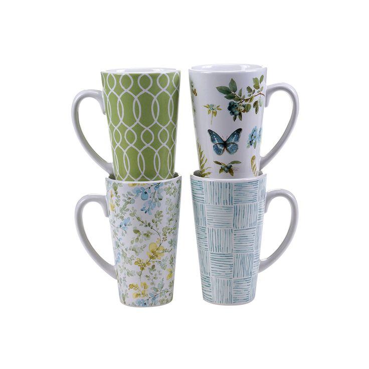 Certified International The Greenhouse 4-pc. Latte Mug Set, Multicolor