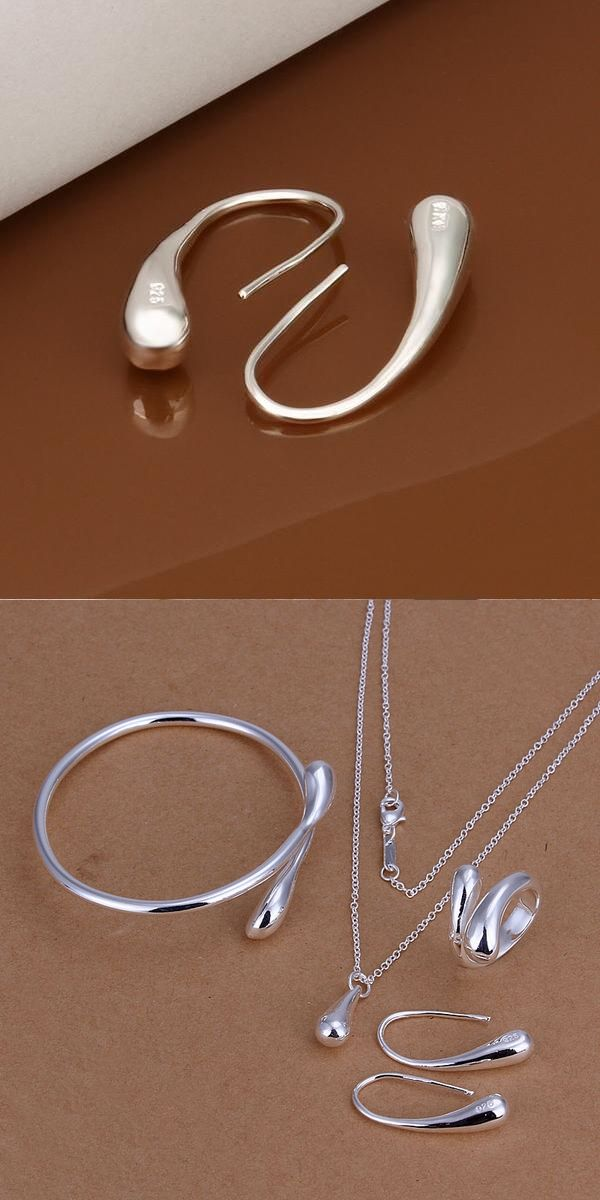 Hot 925 sterling silver sets teardrop earring ring necklace pendant bangle for women turkish fashion jewerly set jewellery S222