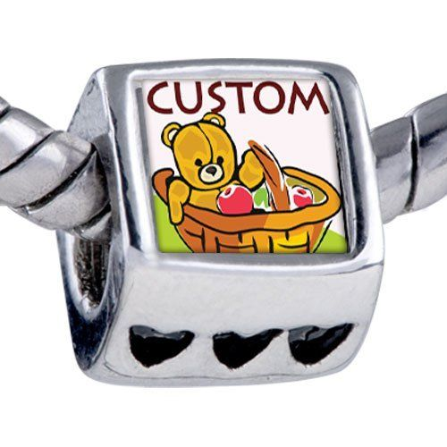Pugster Bead Teddy Bear In Basket European Charm Bead Fits Pandora Bracelet Pugster. $15.99. Bracelet sold separately. Fit Pandora, Biagi, and Chamilia Charm Bead Bracelets. Add the words you want on the Fit pandora charms. Unthreaded European story bracelet design. Hole size is approximately 4.8 to 5mm