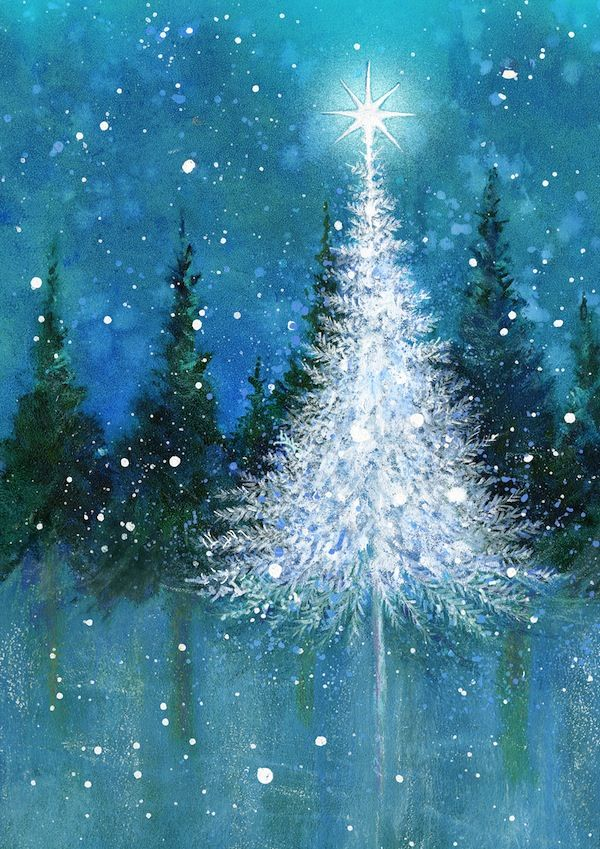 2016/04/20 White Tree with Star on Aqua Blue - Jan Pashley