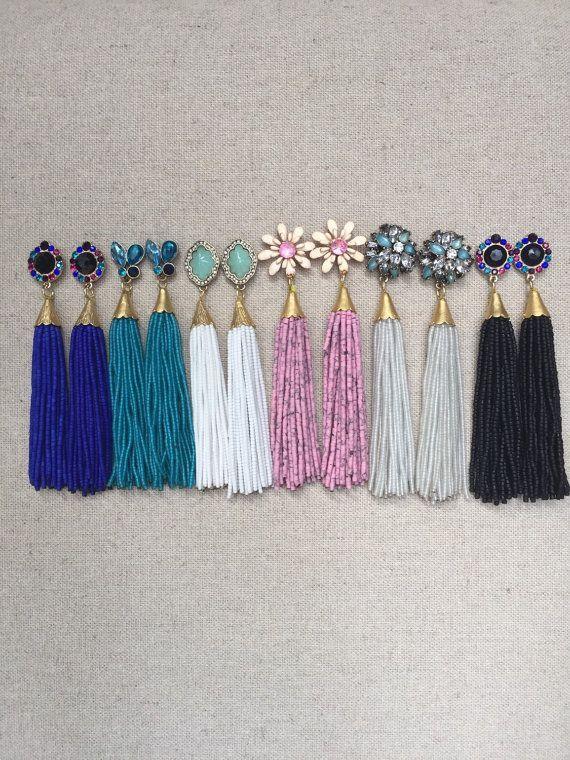 Multi Stud Beaded Tassel Earrings: