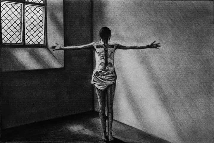 #drawing #tattoo #pencil #disegno #drawings #art #artist #artistic #paper #pencildrawing #room #dark #horror #cross #croce