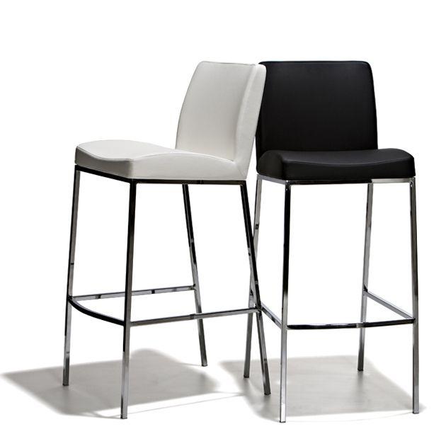 Cork - Barstol i fast höjd, 2 olika höjder, stoppad sits i konstläder och underrede i kromat stål.