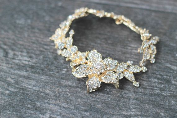 Gold Crystal Hair Vine Bridal Bun Wrap by EdenLuxeBridal on Etsy, $109.00